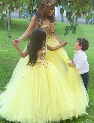 Tulle Flower Girl Christening Princess Pageant Wedding Prom Evening Ball Gown