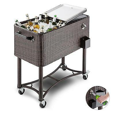 Drinks Beer Cocktails Cooler Ice Serving Cart Garden Party 4 Rollers *free P&p*