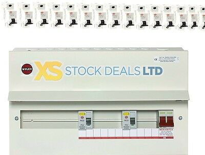 Wylex 15 Way Amendment 3 Metal Clad NMRS15SSLMHI Dual RCD Consumer Unit +15 MCBS