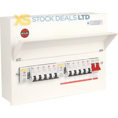Wylex Amendment 3 Metal Clad 10 Way High Integrity Dual RCD Consumer with MCB's