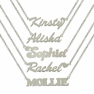 Sterling Silver Personalised Make Any Name Plate Pendant Belcher Chain Necklace