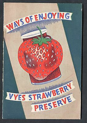 C1960's Wye Son Booklet Ways of Enjoying Vyes Strawberry Preserve