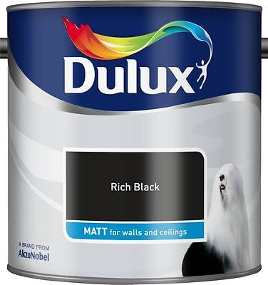 Dulux Matt Emulsion Paint For Walls & Ceilings 2.5L Rich Black