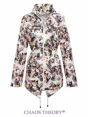 Girls Children Kids Floral Showerproof Mac Parka Raincoat Fishtail Jacket