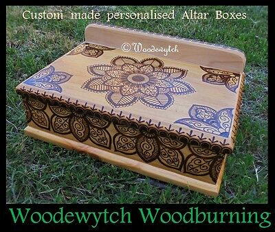 Wiccan pagan large Altar Box original Henna style design Handcrafted only 1
