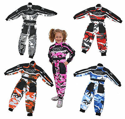 Kids Wulfsport Race Suit Overalls Motocross Go-Karting Youth Child Pants Camo