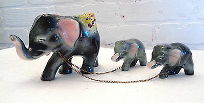 Miniature Circus Elephant Family with Tiger Vintage