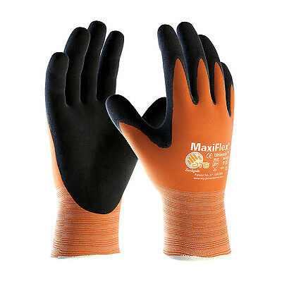 Maxiflex 34-8014 Hi Vis Gloves Orange Nitriles Coated Micro-Foam Grip (Dozen)