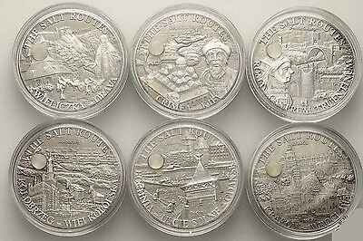 Malawi 2009 - 2010 6 x 20 kwacha - THE SALT ROUTE Silver Coin Series 6 x 1oz.