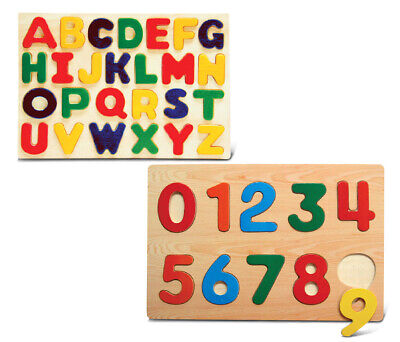 Puzzled Numbers and Letters Small Educational Rasied Wooden Puzzle for Home o