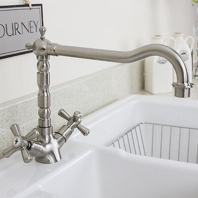 Astini Traditional Brushed Steel Twin Handle Kitchen Sink Mixer Tap 25411BS