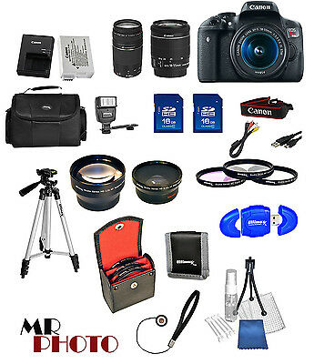 Canon EOS Rebel T6I Camera + 18-55mm stm + 75-300mm + 32GB Value Bundle *NEW*
