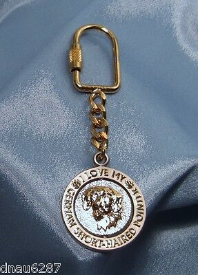 "German Shorthaired Pointer ""I Love My Dog"" Spinning Fob Key Chain  4 ½"" Long"