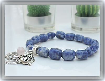 HERZDAME * BUDDHA OM ARMBAND * FENG-SHUI * SODALITH 12mm +ANHÄNGER * EDELSTEIN