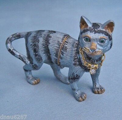Rucinni Cat with Collar Trinket Box Gray and Black NIB DN2878