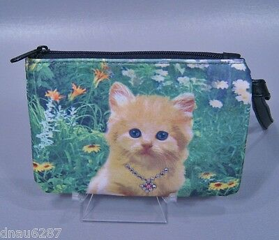 Orange Kitten Coin Purse with Zipper and Hand Strap by Blossom Collection