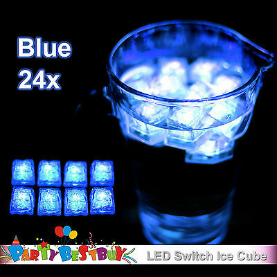 New 24X Switch Blue Ice Cube LED lights Party Wedding Christmas Decoration Glow