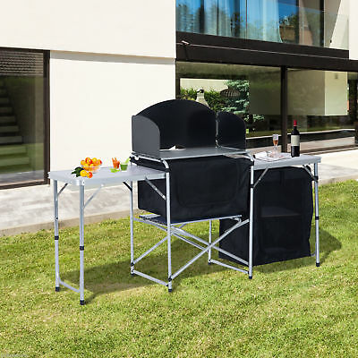 Outsunny Camp Picnic Cabinet Folding Cupboard Table W/ Wild Board Cooking Alu
