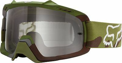 Fox Racing NEW Mx AIRSPC Camo Green Grey Clear Motocross Dirt Bike Goggles