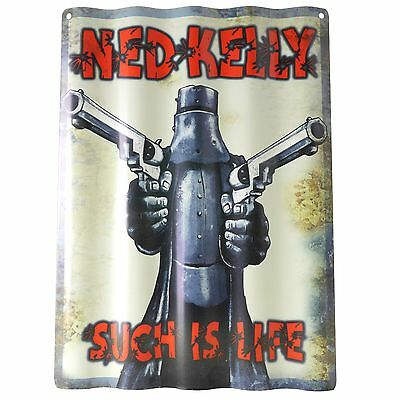 NED KELLY Corrugated Tin WALL SIGN Man Cave Pool Room