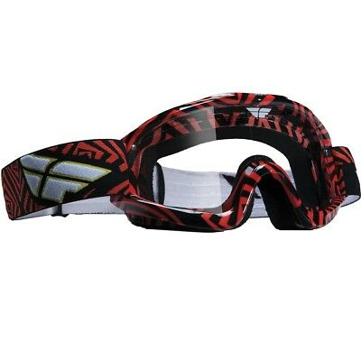Fly Racing NEW Mx Zone Red Black Adult Clear Lens Motocross Dirt Bike Goggles