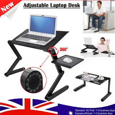 Foldable Adjustable Laptop Desk Computer PC Table Tray Stand Bed Desk Black AU