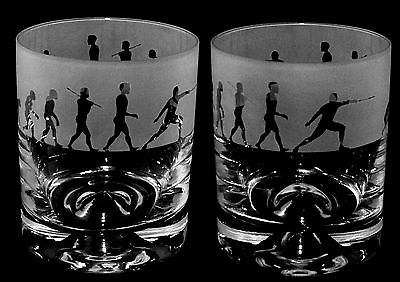 *FENCING GIFT* Boxed WHISKY TUMBLER GLASS with EVOLUTION FENCER frieze