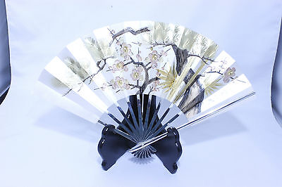 Japanese Antique Sterling Silver Fan with Stand Sensu ohgi Unzan 8 Free Shipping