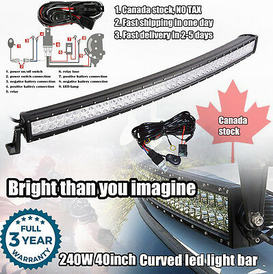 40 inch Off road Curved LED Light Bar SUV 4WD Jeep Truck Ford Boat Driving 42