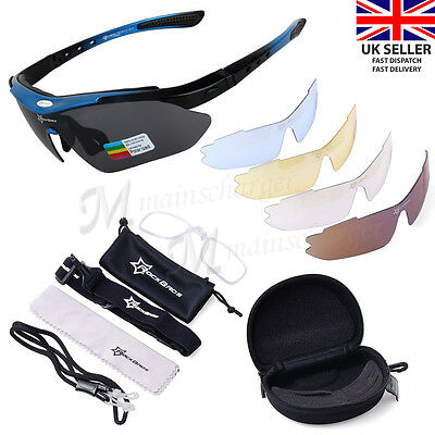 ROCKBROS Pro Polarized Cycling Glasses Bike MTB Sports Sunglasses 5 Lens Goggles