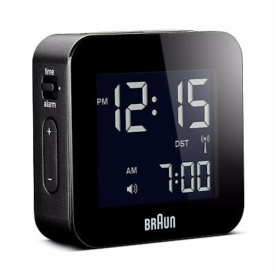 Braun Digital Travel Clock - Black BNC008BK-RC