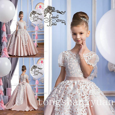 Pink Lace Flower Girl Dress Kids Birthday Wedding Party Pageant Dance Ball Gown
