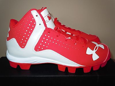 New Boys Girls Under Armour Baseball Softball Cleats Leadoff Mid Rm Red Youth 6