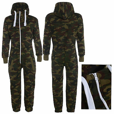 Kids Boys Girls Army Camo Print Hooded Bodysuit Jumpsuit Fleece All In One 2-13