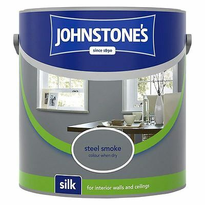 Johnstone's Silk Emulsion Paint For Walls & Ceilings 2.5L Steel Smoke