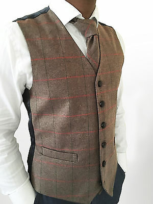 Mens Wool Blend Tweed Brown Check Herringbone Waistcoat Vest - Sizes Small - Xxl