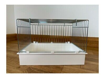 LARGE WIRE BIRD AVIARY BATH WITH HOOKS & PLASTIC BOTTOM FOR CAGE FRONTS Finches