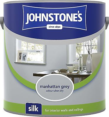 Johnstone's Silk Emulsion Paint For Walls & Ceilings 2.5L Manhattan Grey