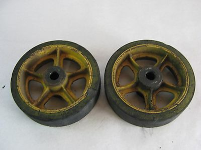 "2 Antique Cast Iron / Rubber Railroad Loading Dock Factory Cart Wheels 10"" x 3"""