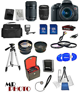 Canon EOS Rebel T6I Camera + 18-55mm STM + 55-250mm STM 4 Lens 32GB Value Kit