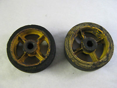 2 Antique Cast Iron / Rubber Railroad Loading Dock Factory Cart Wheels 8 x 2 1/2