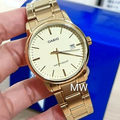 Casio MTP-V002G-9A Men Analog Mineral Glass Watch Stainless Steel Gold Dial new