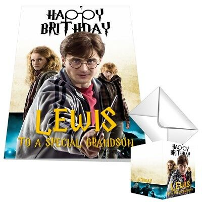 Personalised Harry Potter Birthday Card Any NAME Any AGE Any RELATION 14x21xcm