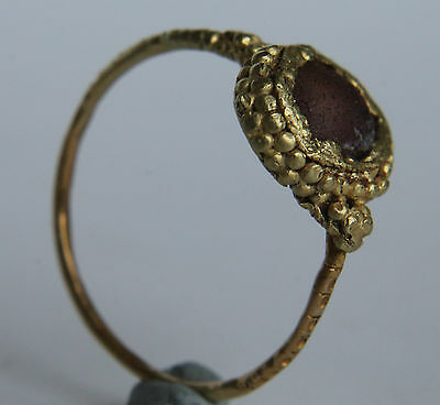 Medieval Period Decorated Gold Finger Ring with Purple Gem Bezel 1000-1500 AD