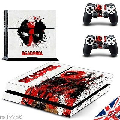 Deadpool Sony PS4 Playstation 4 Skin Wrap Sticker Decal Console & Controller