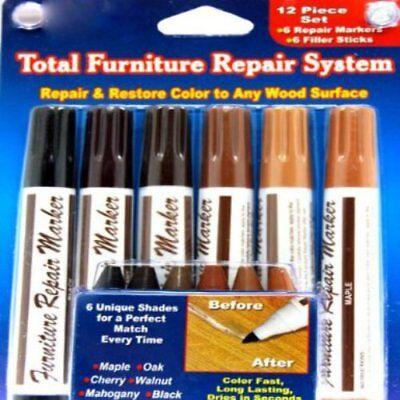 Beautyko Ideaworks 12-Piece Wood Touch-Up Markers and Wax Sticks for Repairing
