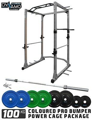 Power Rack / Power Cage Bumper Plates 100 KG Package with Dip Bars & Pull Up Bar