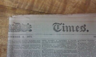 Vintage Newspaper London Times December 1877 # 29115 16 Pages Collectable
