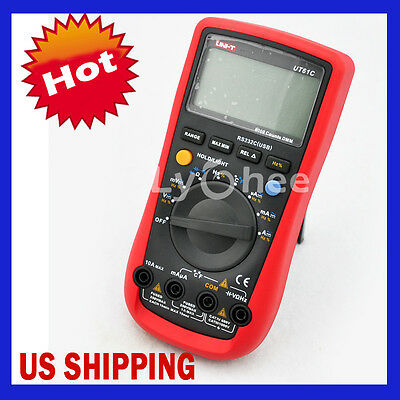 Lychee AC/DC Modern Digital Auto Ranging Multimeters UT61C with RS232 Interface
