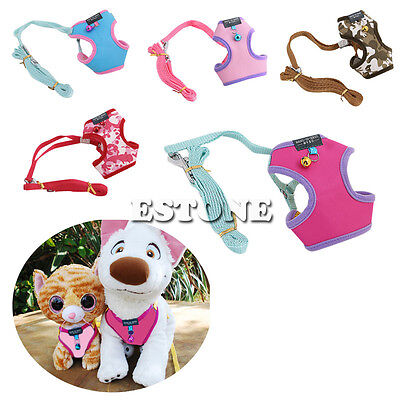 Adjustable Harness Lead Leash Small Cat Pet Dog Puppy Soft Mesh Fabric with Bell